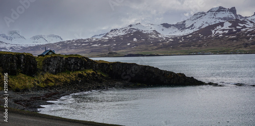 Foto op Aluminium Donkergrijs Beautiful surroundings of Borgarfjordur Eystri in Iceland