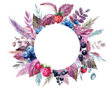 Watercolor Frame With Leaves A...