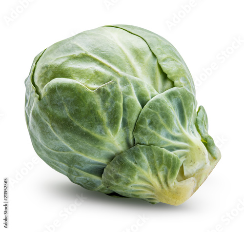 Poster Bruxelles Brussels sprouts isoated on white. Clipping path.