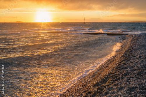 Sonnenuntergang Am Strand Von Fazana Buy This Stock Photo And