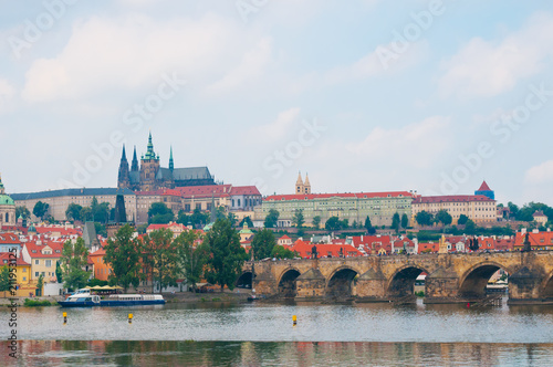 Staande foto Praag View on Vltava river, St.Vitus cathedral and Charles bridge in Prague, Czech Republic