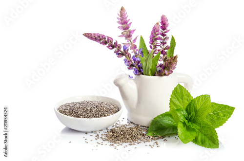 Chia seeds healthy superfood with flower isolated on white background Wallpaper Mural
