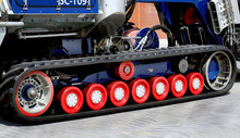 Modern Track Drive With Rubber Material On Lifeboat Tractor.