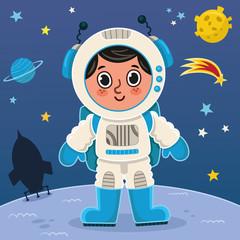 Fototapeta samoprzylepna Astronaut boy on the planet. Vector illustration.