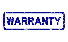 Grunge Blue Warranty Square Rubber Seal Stamp On White Background