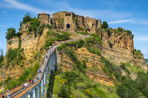 Fototapety, obrazy: Civita di Bagnoregio, Italy - Panoramic view of historic town of Civita di Bagnoregio with a connecting bridge and surrounding hills and valleys of Lazio region