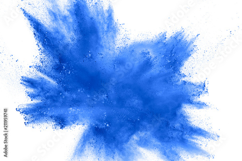 Abstract blue dust explosion on white background.  Freeze motion of blue powder splash. Painted Holi in festival. - 211959741