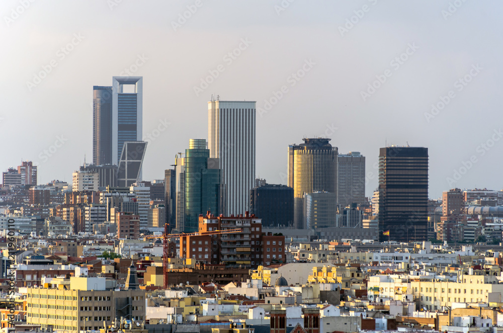 Madrid skyline and skyscrapers in business and financial district