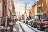 Fototapeta Uliczki - Street of Philadelphia with Snow