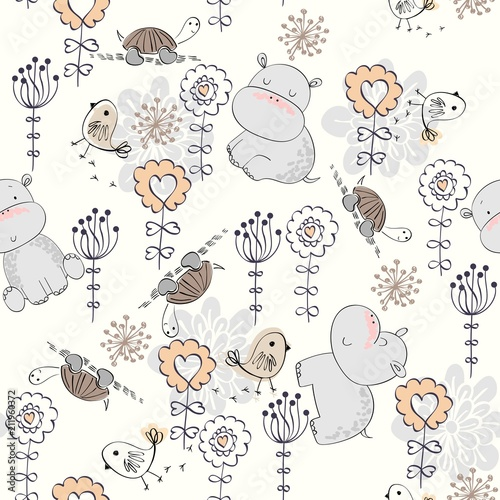 Valokuvatapetti Vector hand drawn seamless pattern with flowers and hippos