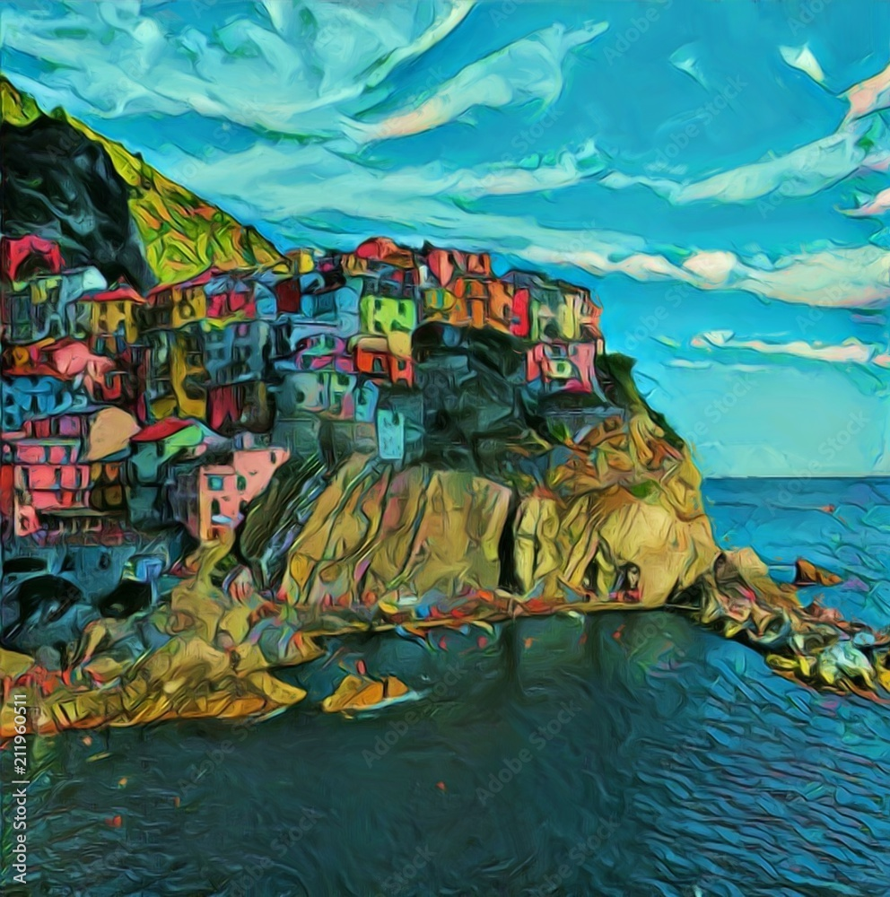 View of Manarola, Cinque Terre. Italian resort town. Traditional architecture in Italy. Big size oil painting fine art. Modern impressionism drawn artwork. Creative artistic print for canvas or poster