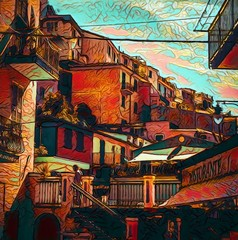 Fototapeta Miasta View of small Italian resort town, Cinque Terre. Tourism in Italy. Traditional houses. Big size oil painting fine art. Modern impressionism drawn artwork. Creative artistic print for canvas or poster.