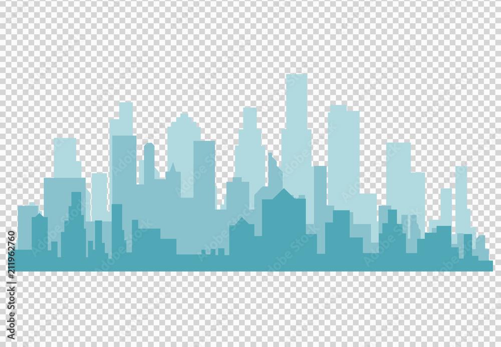 Fototapeta City skyline vector illustration. Urban landscape. Daytime cityscape in flat style