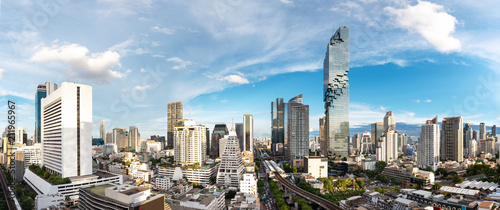 Fotografie, Obraz  Bangkok Cityscape Business District Panorama View with Height Building in Aftern