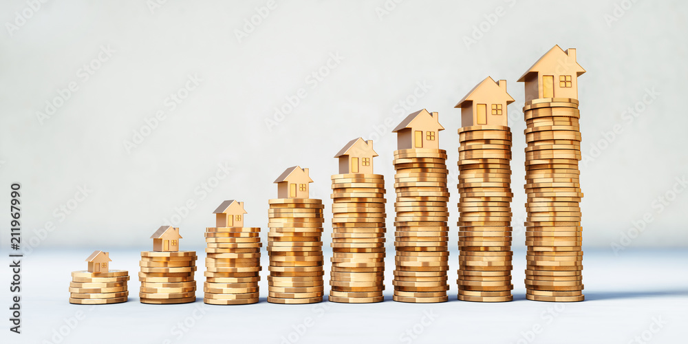 Fototapety, obrazy: Münzstapel mit goldenen Modellhäusern