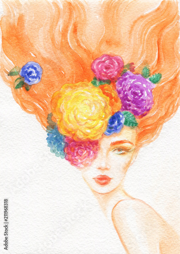 summer time. beautiful woman. fashion illustration. watercolor painting