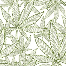 Seamless Pattern With Marijuana Leaf. Vintage Black Vector Engraving Illustration
