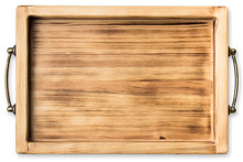 Vintage Wooden Tray Isolated On White Background