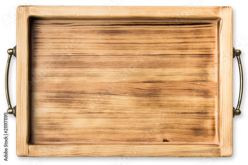 Photo vintage wooden tray isolated on white background