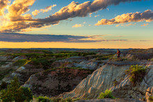 Looking Out Over The Badlands Of North Dakota