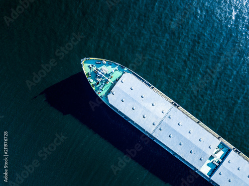 close up part of big barge on the sea water texture directly above overhead view Canvas Print