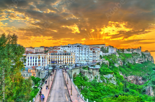 Fotobehang Algerije Skyline of Constantine at sunset. Algeria