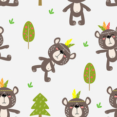 Tapeta seamless background of vector drawings merry bears in the forest