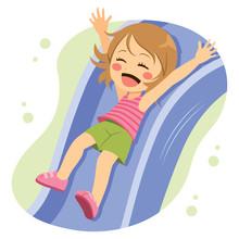 Cute Character Girl Going Down On Playground Slide Having Fun