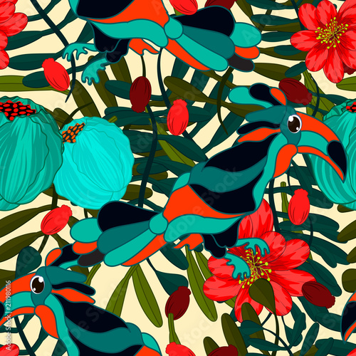 Foto op Canvas Draw Vector floral ethnic seamless pattern in doodle style with flowers , leaves and birds . Gentle, spring/summer floral background.