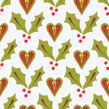 Festive Christmas Holly Berries Heart Design, Hand Drawn Green Red Seamless Vector Pattern, Illustration For Fashion Prints, Winter Wedding Stationery, Xmas Decor, Gift Wrap & Seasonal Web Backgrounds
