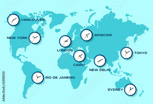 World time. Simple Clock icons on world map. Objects in flat style ...