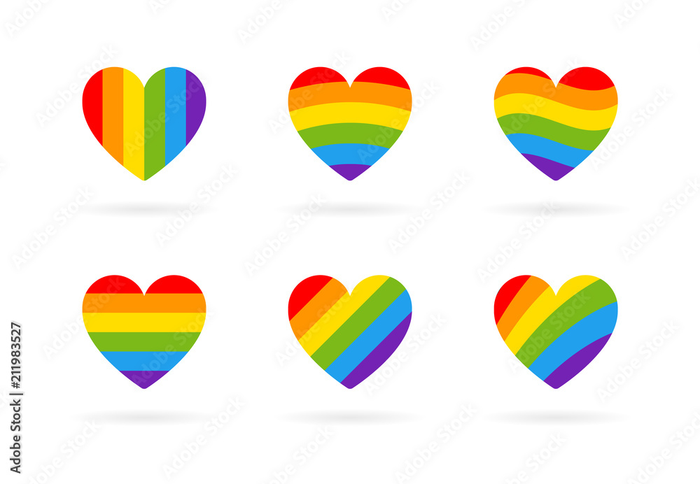 Fototapeta Pride LGBT heart vector icon set, Lesbian gay bisexual transgender concept love symbol. Collection of Color rainbow flag. Flat design signs isolated on white background