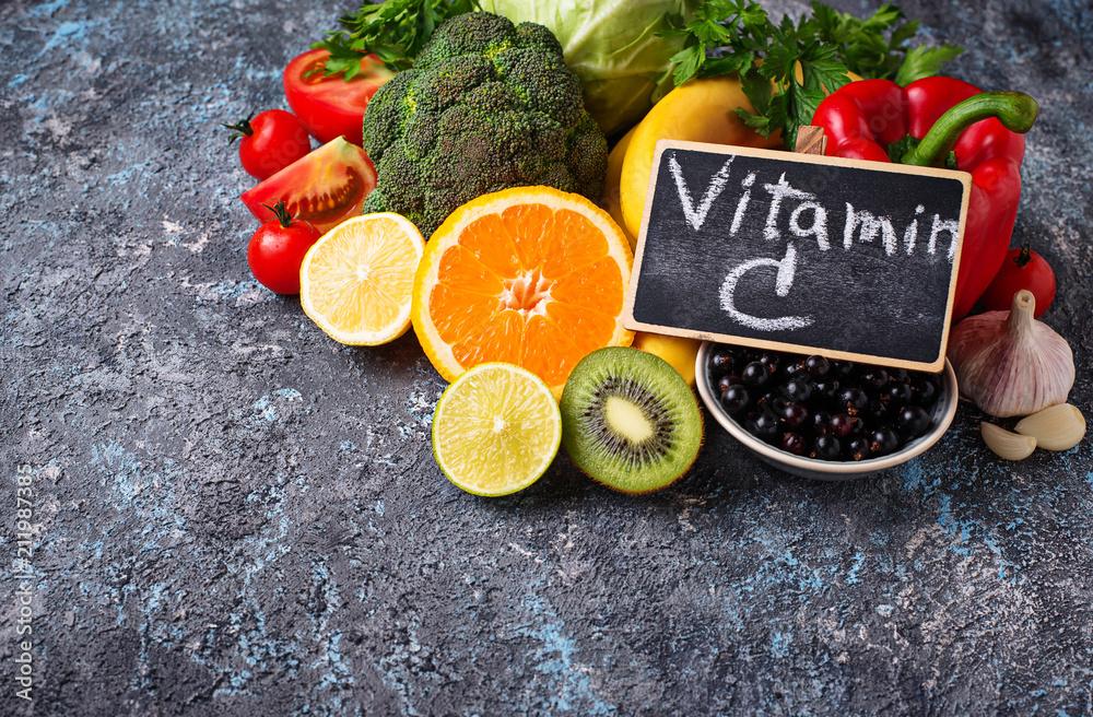 Fototapeta Foods rich in vitamin C. Healthy eating