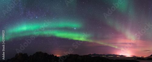 Slika na platnu Aurora borealis and milky way