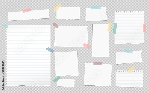 Obraz White lined note, notebook paper pieces with torn edges stuck on squared gray backgroud. Vector illustration. - fototapety do salonu