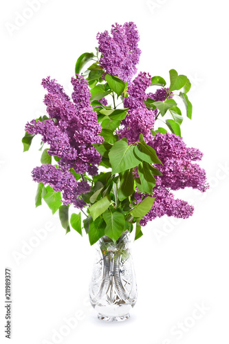 Fotobehang Lilac Bouquet of purple lilacs in a crystal vase on a whitebackground.