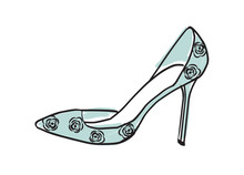 High Heel Shoe. Mint Blue Pump Vector Illustration Isolated On White. Hand Drawn Design Element. Feminine, Women, Girls Shoe Sketch For Cards, Scrapbooking, Stationery And More. Fashion, Style.