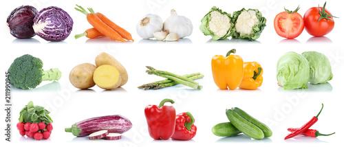 Spoed Foto op Canvas Verse groenten Gemüse Kartoffeln Karotten Tomaten Paprika Salat Essen Sammlung Freisteller freigestellt isoliert