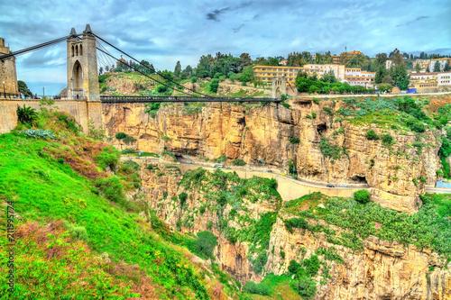 Poster Algérie Sidi M'Cid Bridge across the Rhummel River in Constantine, Algeria