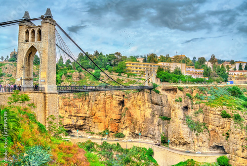 Poster Algérie Sidi M'Cid Bridge across the Rhummel River in Constantine, Algeria