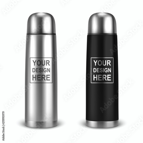Photo  Vector realistic 3d empty glossy metal vacuum thermo tumbler flask icon set closeup on white background
