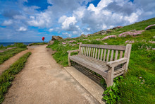 Empty Bench On Cornish Coast