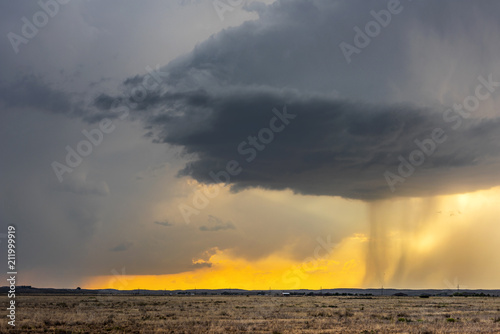Time lapse of tornadic supercell over Tornado Alley at sunset Wallpaper Mural