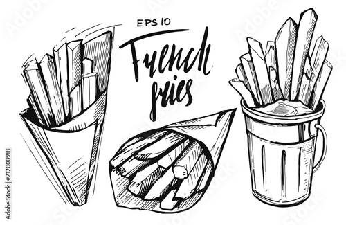 Photo French fries sketch