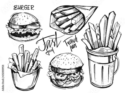 French fries and burger sketch Tapéta, Fotótapéta