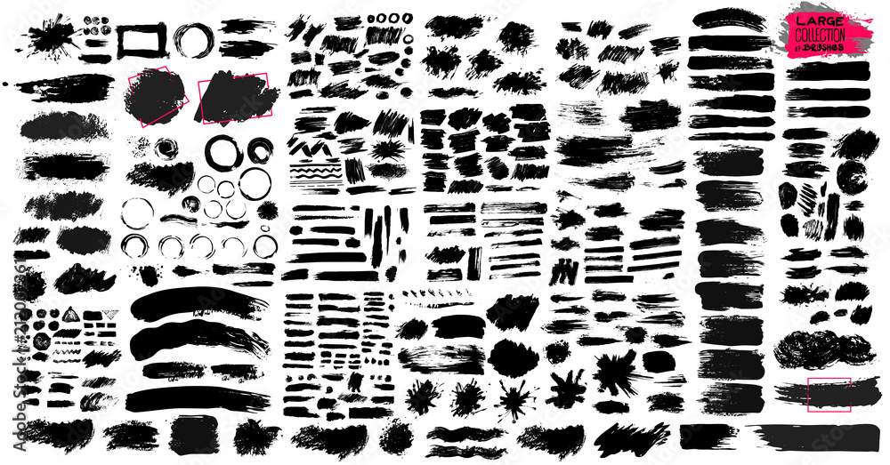 Fototapety, obrazy: Big Set of black paint, ink brush strokes, brushes, lines, grungy. Dirty artistic design elements, boxes, frames. Vector illustration. Isolated on white background. Freehand drawing