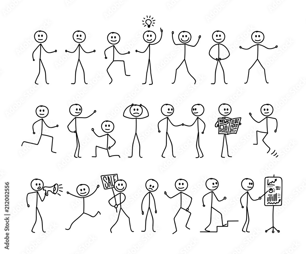 Fototapety, obrazy: Set of man drawing, different poses, stick figure people pictogram. Freehand drawing. Vector illustration. Isolated on white background