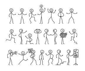 Set of man drawing, different poses, stick figure people pictogram. Freehand drawing. Vector illustration. Isolated on white background