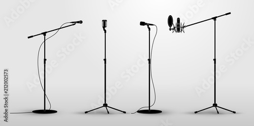 Fototapeta Set of microphones on counter
