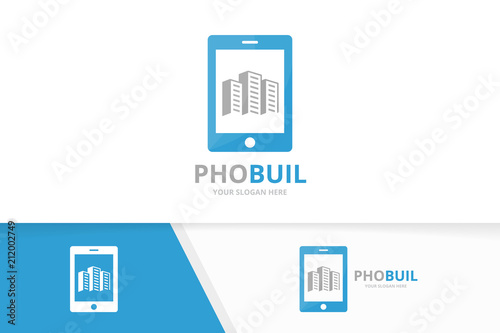 Vector Skyscraper And Phone Logo Combination House And Mobile